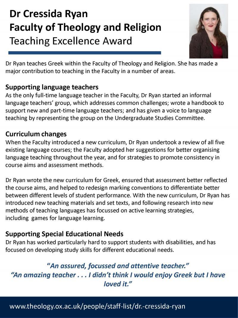 Teaching Excellence Award - Cressida Ryan