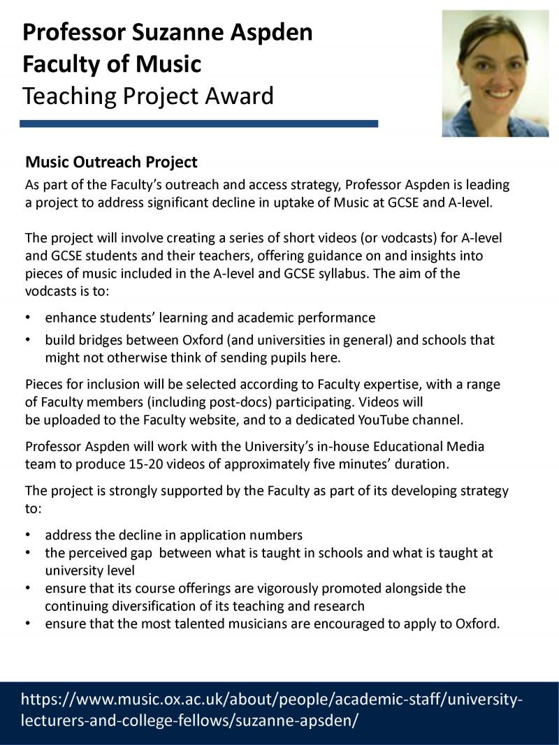 Teaching Project Awards - Suzanne Aspden