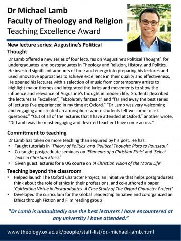 Teaching Excellence Award - Michael Lamb